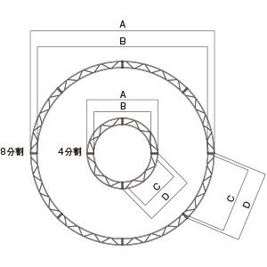 円トラス・クランプ型 Ø3000 1/4